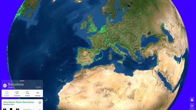 Con solo mover deslizarte por el mapa puedes localizar casi cualquier radio del mundo.