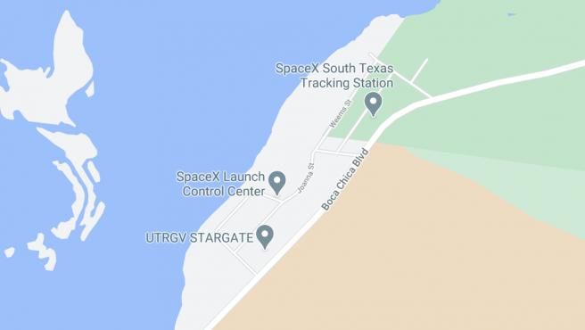 Vista en Google Maps de la base de SpaceX de Boca Chica, Texas.