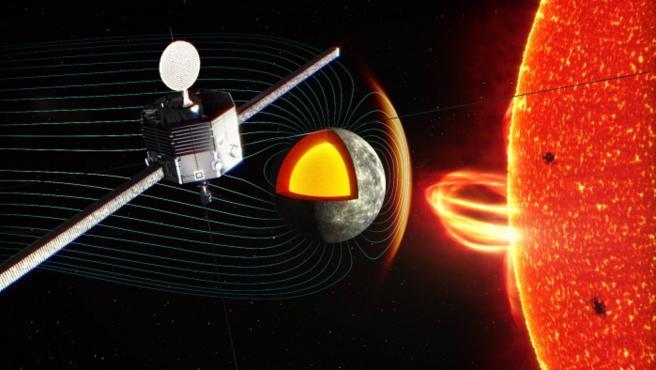 Ilustración del orbitador BepiColombo MIO observando el entorno de plasma cerca de la superficie de Mercurio. SOCIEDAD INVESTIGACIÓN Y TECNOLOGÍA JAXA