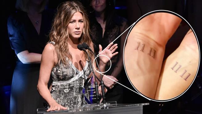 Jennifer Aniston, con el tatuaje misterioso de su muñeca.