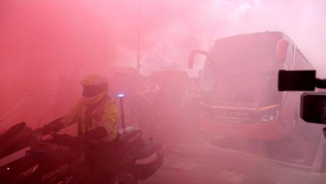 Llegada del Atlético de Madrid al Wanda Metropolitano.