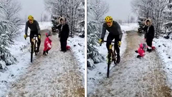 Secuencia del vídeo en el que el ciclista derriba a la niña.
