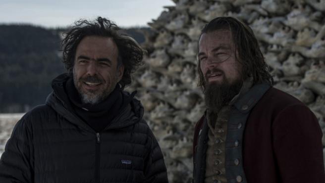 Alejandro González Iñárritu y Leonardo DiCaprio rodando 'El renacido'
