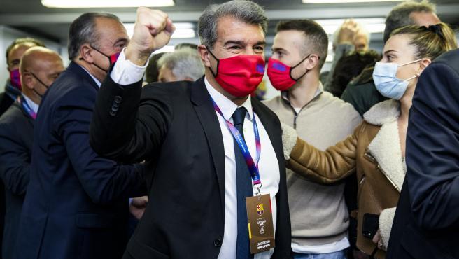 Joan Laporta celebra su victoria electoral