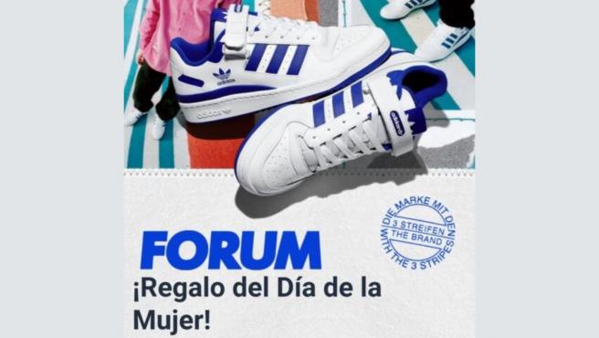 Con esta imagen se presenta la web de la estafa sobre adidas y el Día de la Mujer.