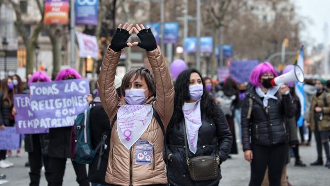 Manifestación por el 8M en Barcelona.