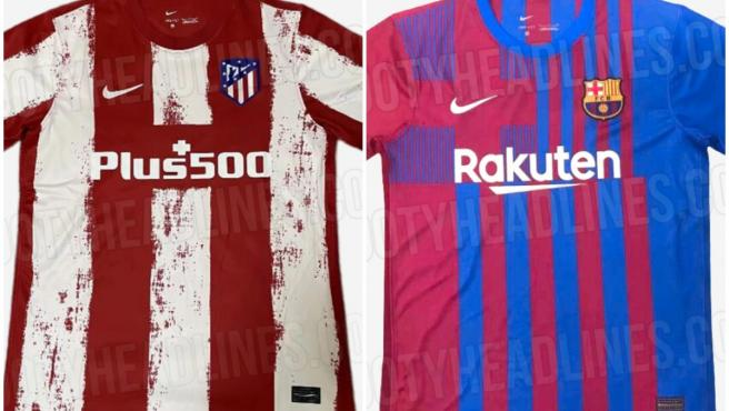 Así serán las camisetas de Atlético de Madrid y FC Barcelona.