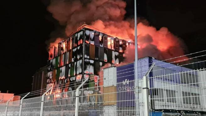 Imagen del incendio de OVH en Estrasburgo.