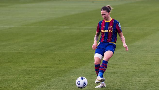 Mapi León, durante un partido del Barcelona