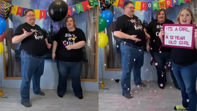 Una familia bromea en TikTok con la celebración del género de su hija, recién adoptada.