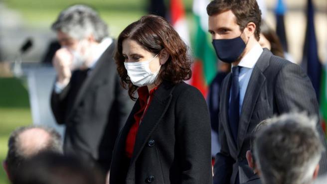 La presidenta de la Comunidad de Madrid, Isabel Díaz Ayuso, junto al líder del PP, Pablo Casado.
