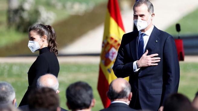 Los Reyes durante el acto de homenaje a las víctimas del terrorismo.