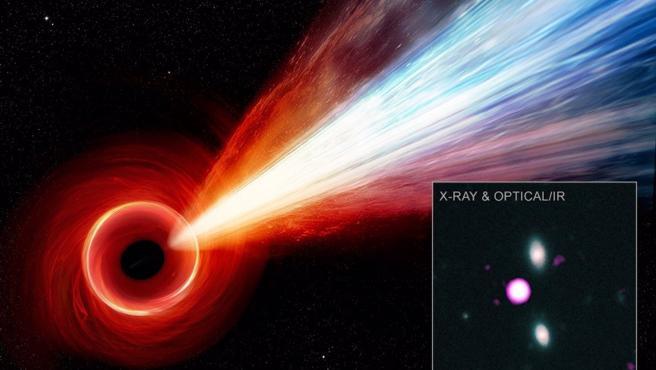 Ilustración del chorro del agujero negro PJ352-15.