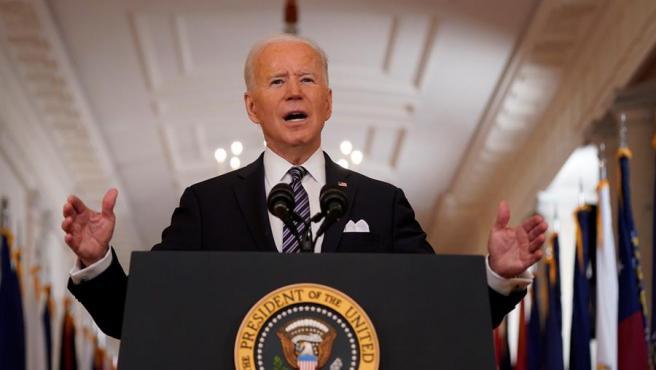 El presidente de EE UU, Joe Biden, durante un discurso televisado a la nación desde la Casa Blanca, al cumplirse un año de la declaración de la pandemia de covid-19.