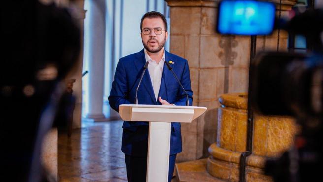 El vicepresidente de la Generalitat y candidato de ERC a la Presidencia, Pere Aragonès, en rueda de prensa en Lleida.