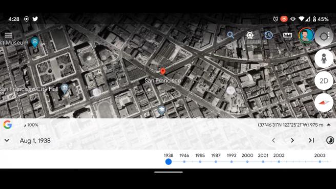 Con esta función también puedes viajar hasta décadas anteriores a la creación de Google Maps,algo que ha sido posible recrear gracias a la digitalización