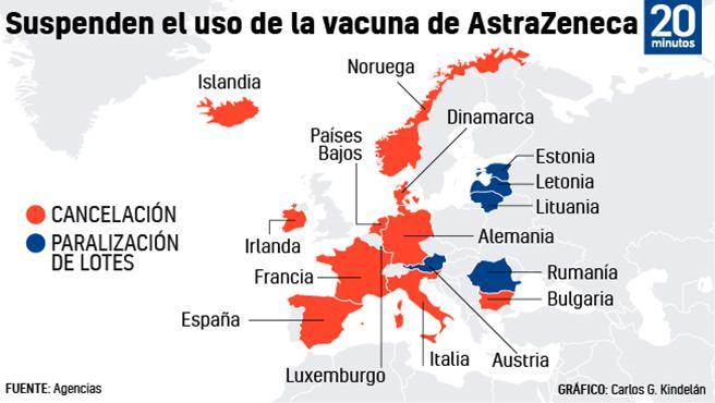 Países que han suspendido el uso de la vacuna de AstraZeneca.