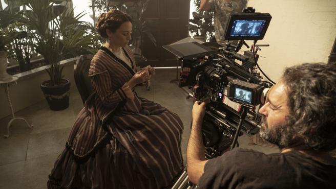 Leonor Watling, durante el rodaje de la serie 'La Templanza', de Amazon Prime Video.