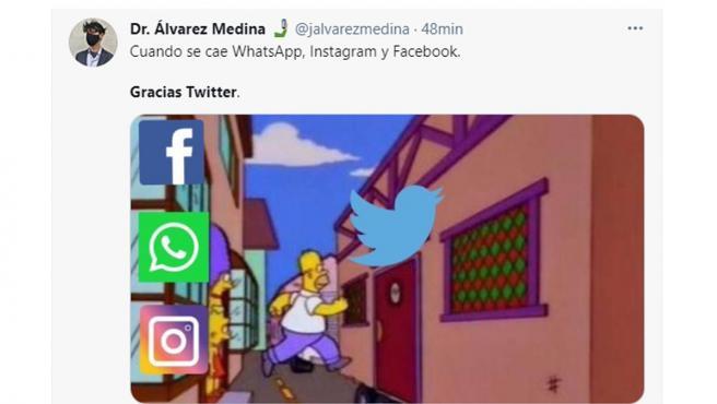Memes publicados en redes sociales tras la caída de Whatsapp, Facebook e Instagram.