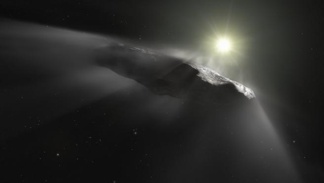Impresión artística del objeto interestelar Oumuamua.