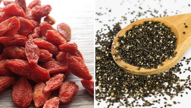 Bayas de goji y semillas de chía.