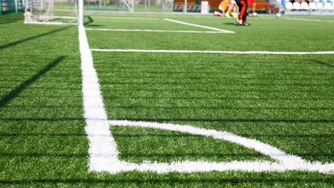 Archivo - Detalle del césped de un campo de fútbol