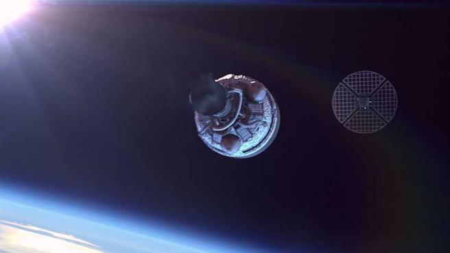 Nanosatélite catalán en órbita, en una recreación.