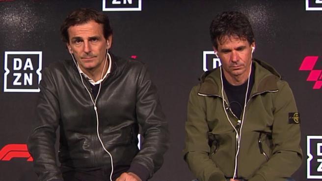 Pedro de la Rosa y Álex Crivillé, expilotos y comentaristas de DAZN