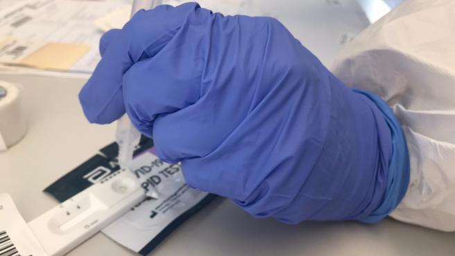 Archivo - Prueba rápida de antígenos COVID-19 realizada en Palma.
