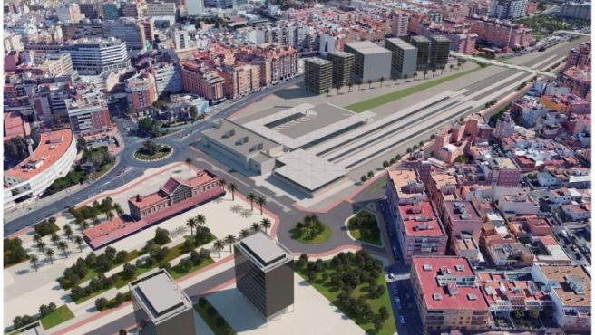 Imagen de anteproyecto de la segunda fase del soterramiento de las vías del tren en Almería