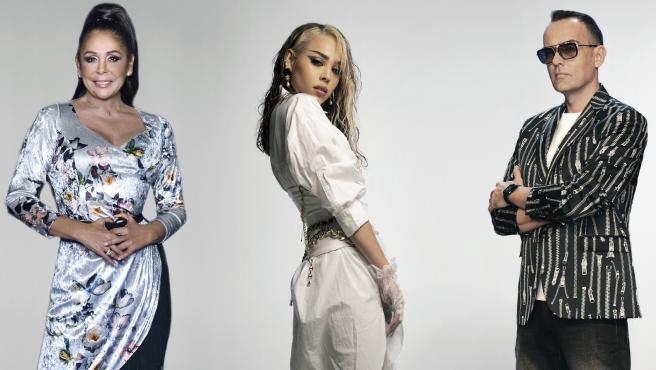 Isabel Pantoja, Danna Paola y Risto Mejide, mecenas de 'Top Star. ¿Cuánto vale tu voz?'.