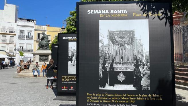 Mupis en la plaza del Salvador con imágenes de la Semana Santa de Sevilla.