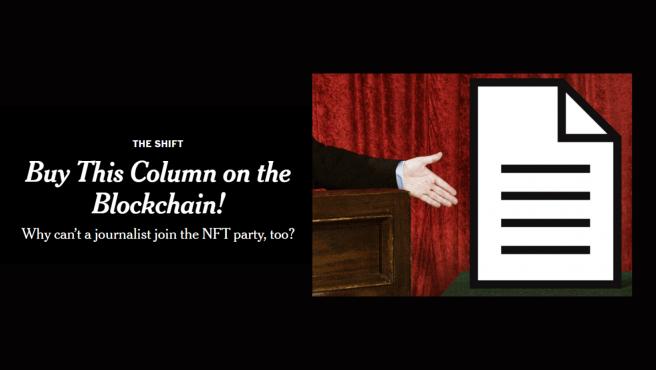 Es el primer artículo periodístico que se vende como NFT.