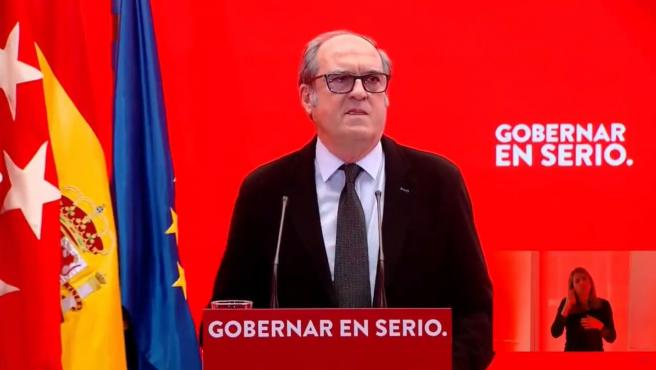 Ángel Gabilondo, candidato del PSOE a la presidencia de la Comunidad de Madrid, en la presentación de su lista electoral.