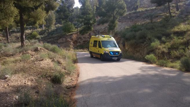 Imagen de la ambulancia que ha atendido al fallecido