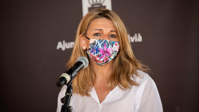 La ministra de Trabajo y Economía Social, Yolanda Díaz, en Calviá este sábado.