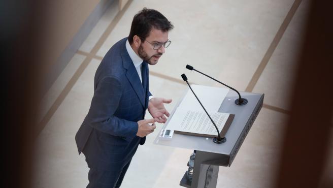 Aragonès, este martes en el Parlament.