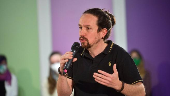 The United We Can candidate for the Madrid elections, Pablo Iglesias, this Sunday.