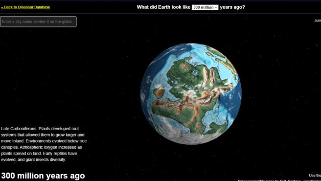 El mapa interactivo te ofrece la posibilidad de volver hasta 750 millones de años atrás.