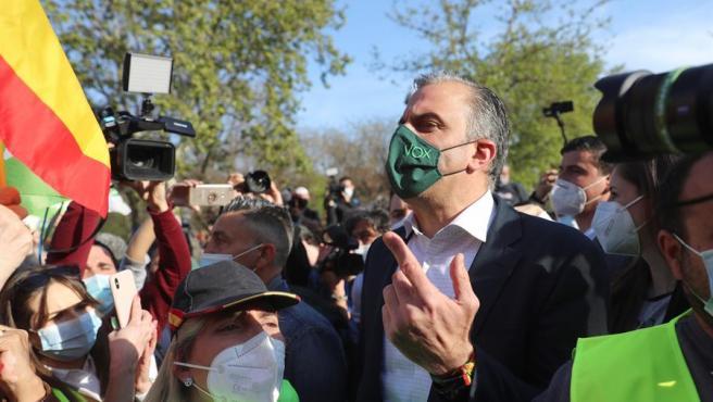 El secretario general de VOX y portavoz en el Ayuntamiento de Madrid, Javier Ortega Smith, asiste al acto de presentación de la candidatura de Rocío Monasterio, para las próximas elecciones en la Comunidad de Madrid.
