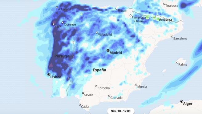 Mapa de la previsión de lluvias para el sábado.