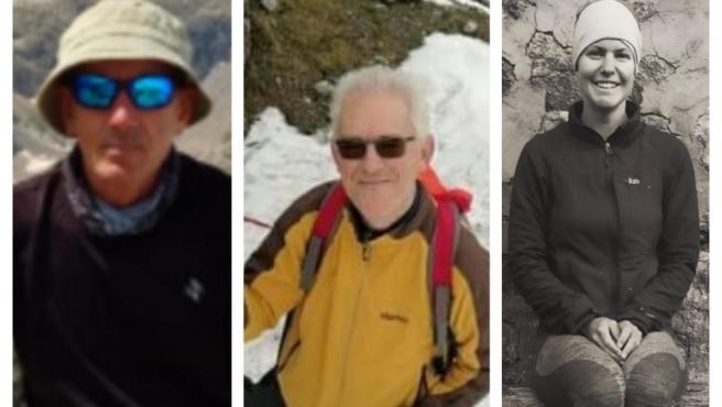 Los tres desaparecidos desde noviembre: Miguel Villarroya (izquierda), Andrés Funes y Esther Dingley.