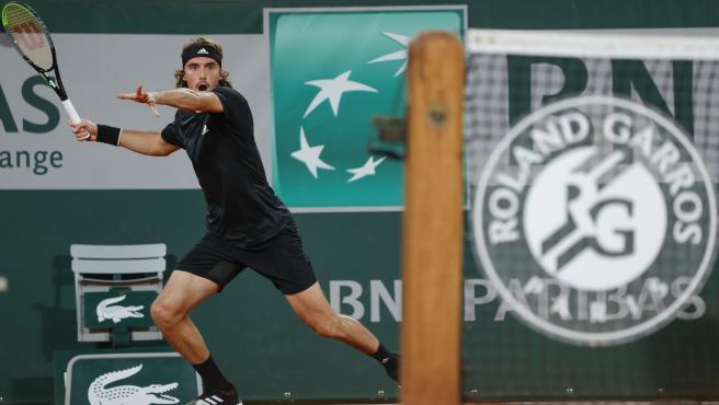 El griego Stefanos Tsitsipas durante un partido de Roland Garros.