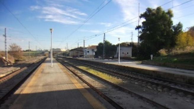 Vías al paso por la Estación de Aguilar de la Frontera.