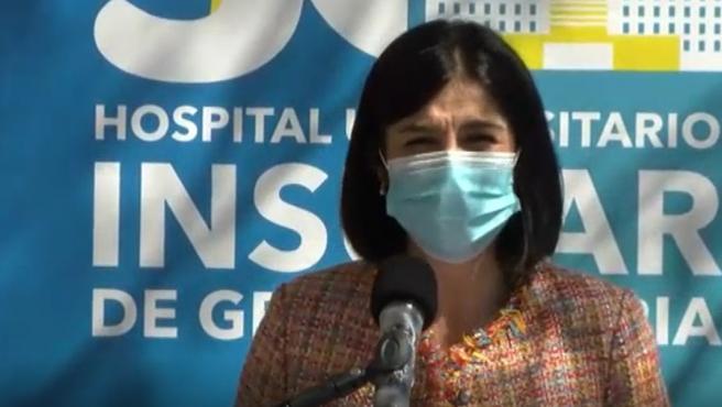 Carolina Darias durante el acto en Canarias.