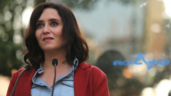 La presidenta de la Comunidad de Madrid y candidata a la reelección, Isabel Díaz Ayuso, este viernes.