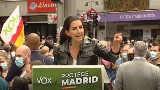 Rocío Monasterio, candidata de Vox a las elecciones en Madrid, este domingo en un acto en Ciudad Lineal.