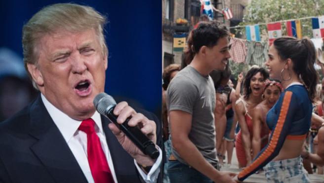 Donald Trump y fotograma de 'En un barrio de Nueva York'