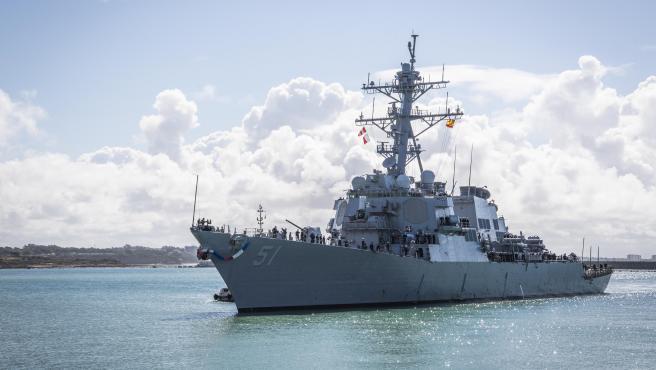 210411-N-KH151-0004 NAVAL STATION ROTA, Spain (Apr. 11, 2021) - The Arleigh Burke-class guided-missile destroyer, USS Arleigh Burke (DDG 51), arrives at Naval Station (NAVSTA) Rota, Apr. 11, 2021. Arleigh Burke's arriv