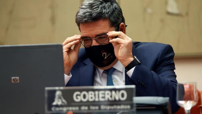 El ministro de Inclusión, Seguridad Social y Migraciones, José Luis Escrivá, comparece ante la comisión de seguimiento del Pacto de Toledo celebrada este lunes en el Congreso de los Diputados de Madrid.